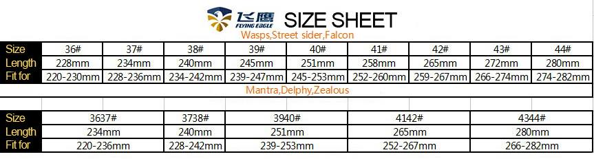 Flying Eagle size chart